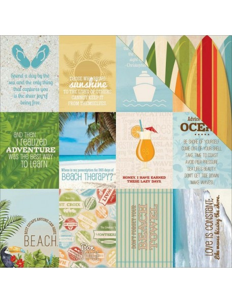 "Bobunny - Beach Therapy Cardstock de doble cara 12""X12"", Cruise"
