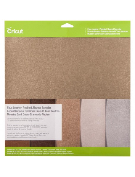 "Cricut Pebbled Faux Leather Sampler 12""X12"" 5 Neutral"