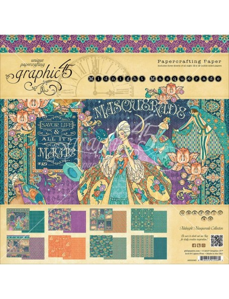 "Graphic 45 Midnight Masquerade Paper Pad Cardstock de doble cara 12""X12"""