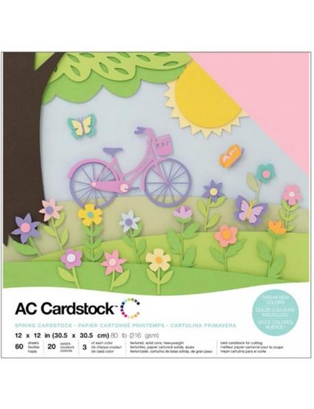 "American Crafts Variedad de Cardstock Pack 12""X12""60 Hojas, Spring"