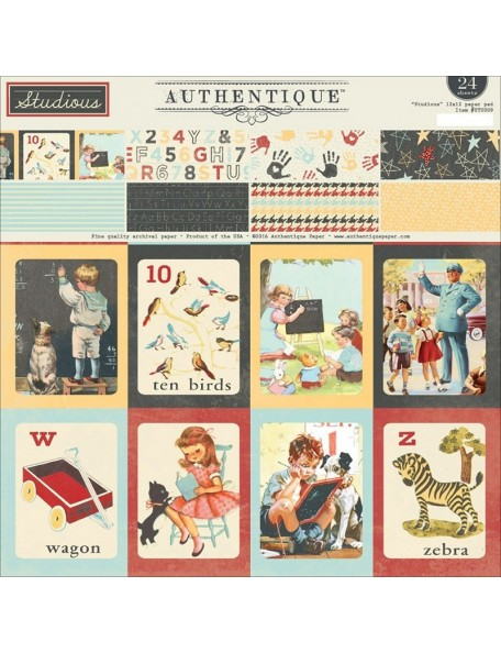 "Authentique - Cardstock Pad de doble cara 12""X12"" 24, Studious One, 8 Designs 3 de cada"