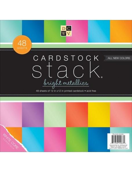 """DCWV Cardstock Stack Hoja de una cara 12""""X12"""" 48 Hojas, 8 Colores/6, Bright Metallics White Core"""