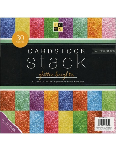 "DCWV Glitter Brights Core Cardstock Stack 12""X12"" 30 Hojas 2 de cada"