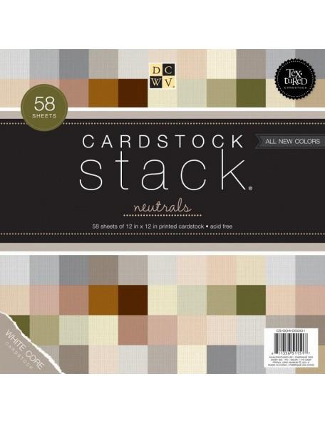 "DCWV Cardstock Stack 12""X12"" 58 Hojas Neutrals, White Core, 29 Colores/2 de cada"
