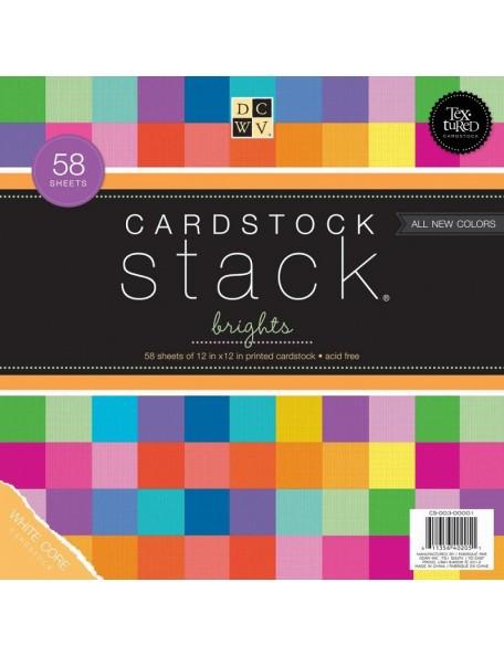 "DCWV Cardstock Stack 12""X12"" 58 Hojas Brights, White Core, 29 Colores/2 de cada"