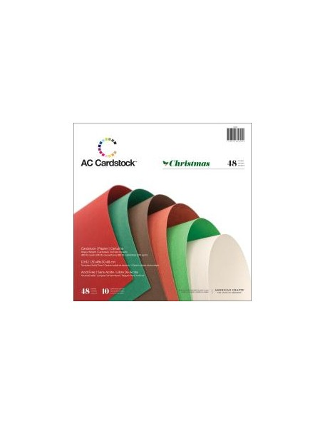 "American Crafts Textured Cardstock Pack 12""X12""48 Hojas Christmas 10 colores diferentes"