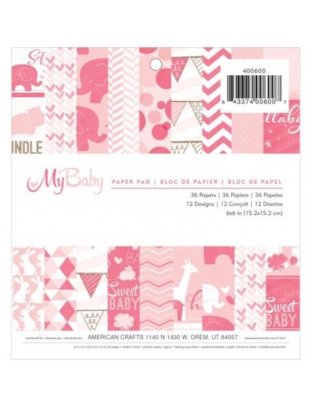 """American Crafts - Paper Pad de una cara 6""""X6"""" 36 My Baby Girl, 12 Dibujos/3 de cada"""