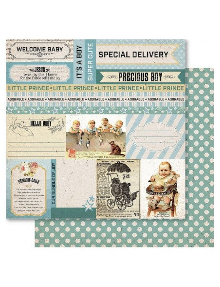 "Ruby Rock-It Bella! Baby Boy Cardstock de doble cara 12""X12"", Precious"