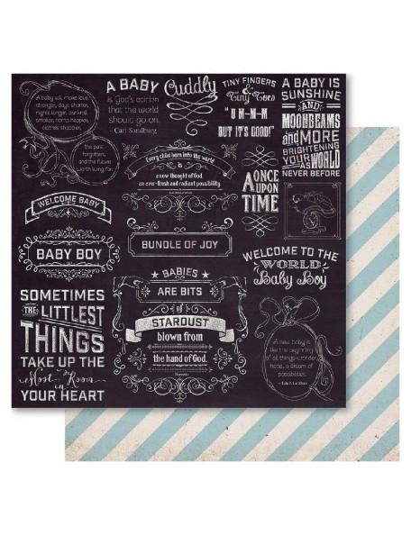 """Ruby Rock-It Bella! Baby Boy Cardstock de doble cara 12""""X12"""", Little Things"""