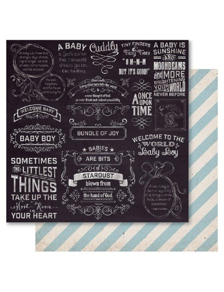 "Ruby Rock-It Bella! Baby Boy Cardstock de doble cara 12""X12"", Little Things"