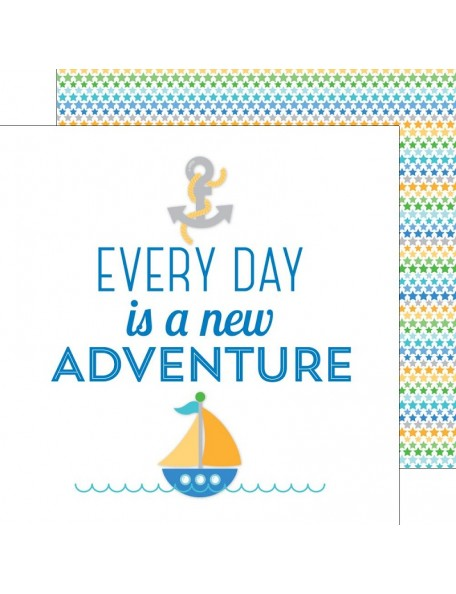 "Doodlebug Anchors Aweigh Cardstock de doble cara 12""X12"", New Adventure"