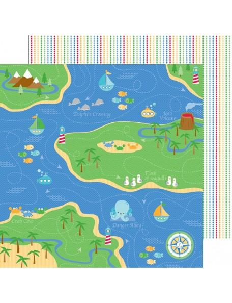 "Doodlebug Anchors Aweigh Cardstock de doble cara 12""X12"", Fisherman's Cove"
