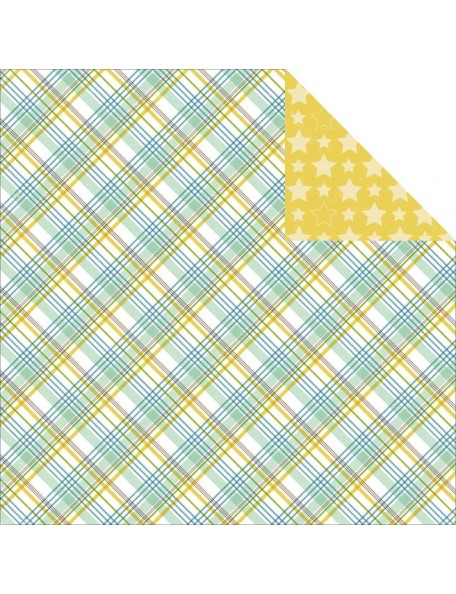 "Echo Park Bundle Of Joy/A New Addition Cardstock de doble cara 12""X12"", Baby Boy, Plaid"