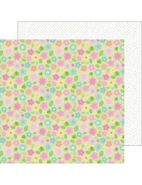 "Doodlebug Spring Things Cardstock de doble cara 12""X12"", May Flowers"