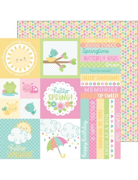 "Doodlebug Spring Things Cardstock de doble cara 12""X12"", Baby Blooms"
