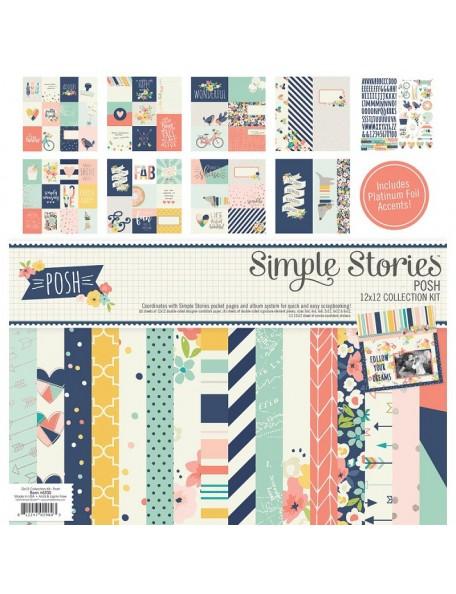 "Simple Stories Collection Kit 12""X12"", Posh W/Foil Accents"