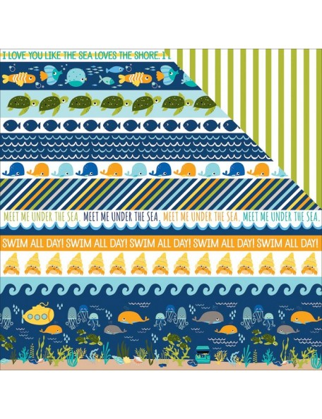 "Bella BLVD - Secrets Of The Sea Boy Cardstock de doble cara 12""X12"", Borders"