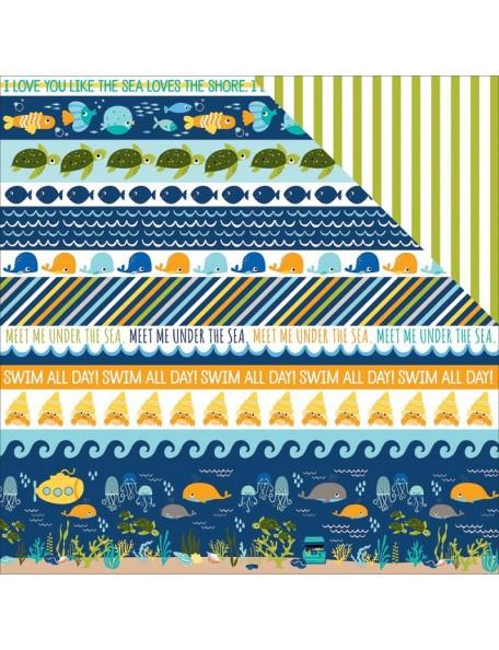 "Bella BLVD Secrets Of The Sea Boy Cardstock de doble cara 12""X12"", Borders"