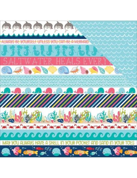 "Bella BLVD Secrets Of The Sea Girl Cardstock de doble cara 12""X12"", Borders"
