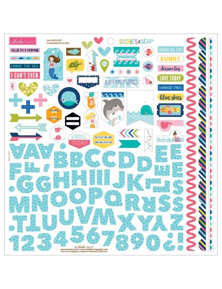 "Bella BLVD Secrets Of The Sea Girl Cardstock Stickers 12""X12"", Fundamentals"