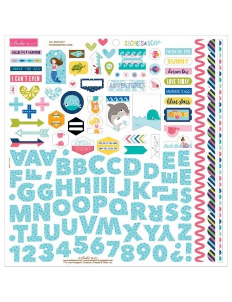 """Bella BLVD Secrets Of The Sea Girl Cardstock Stickers 12""""X12"""", Fundamentals"""