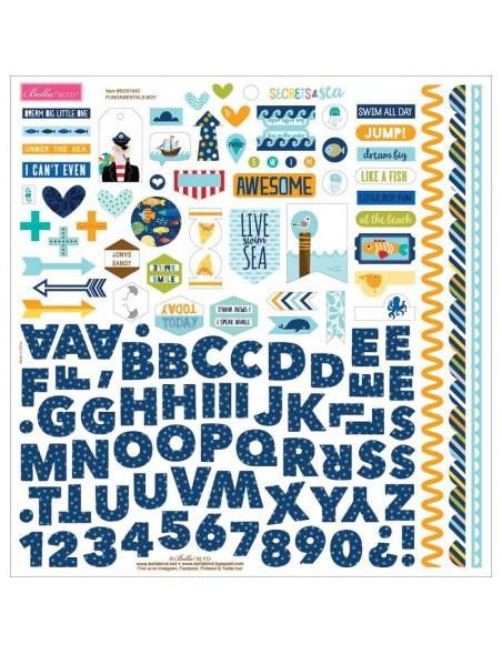 "Bella BLVD Secrets Of The Sea Boy Cardstock Stickers 12""X12"", Fundamentals"