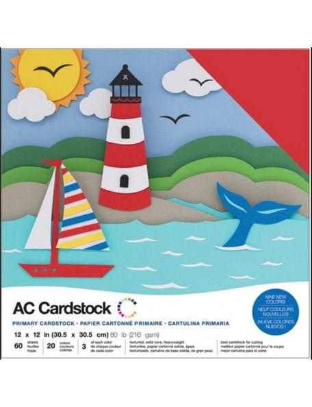 """American Crafts Variety Cardstock Pack 12""""X12"""" 60 Hojas, Primaries"""