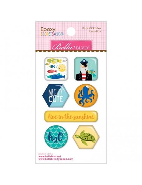 Bella BLVD - Secrets Of The Sea Boy Epoxy Stickers, Icons