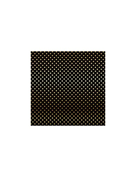 "Carta Bella - Foiled Dot & Stripe Cardstock de una cara 12""X12, Black W/Gold"