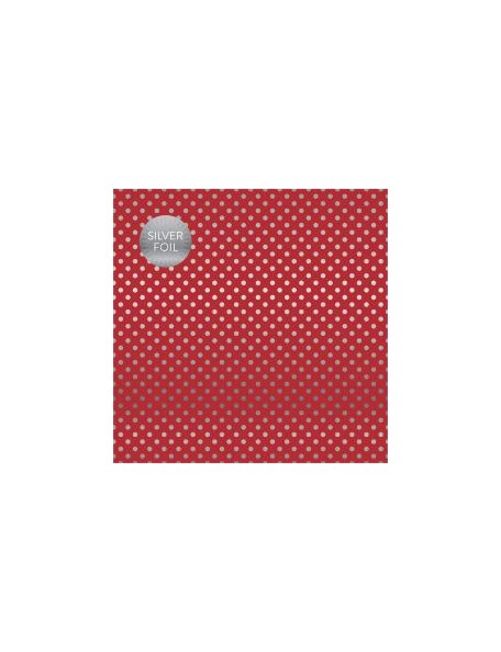 "Carta Bella - Foiled Dot & Stripe Cardstock de una cara 12""X12, Red W/Silver"