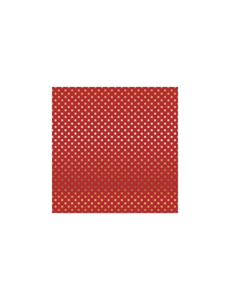 "Carta Bella - Foiled Dot & Stripe Cardstock de una cara 12""X12, Red W/Gold"