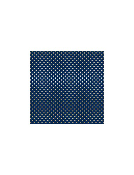"Carta Bella - Foiled Dot & Stripe Cardstock de una cara 12""X12, Navy W/Gold"