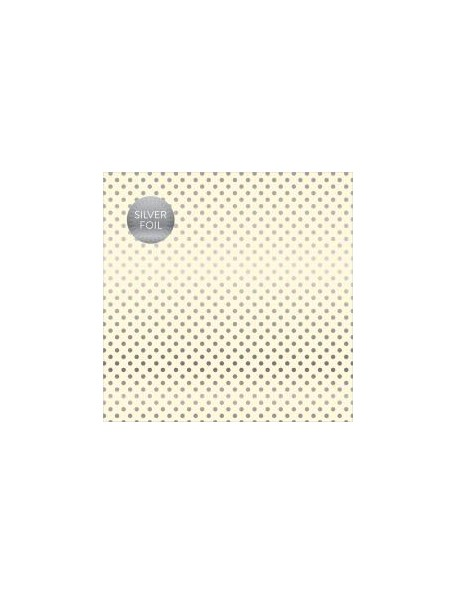 "Carta Bella - Foiled Dot & Stripe Cardstock de una cara 12""X12, Cream W/Silver"