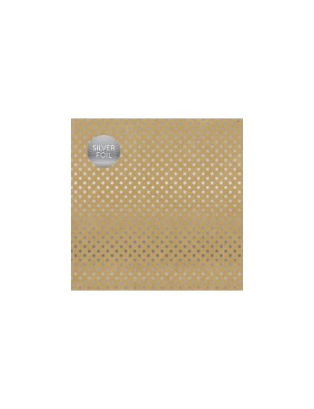 "Carta Bella - Foiled Dot & Stripe Cardstock de una cara 12""X12, Kraft W/Silver"