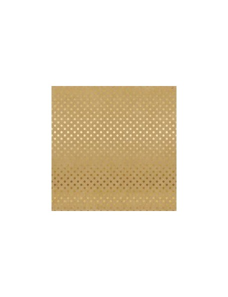 "Carta Bella - Foiled Dot & Stripe Cardstock de una cara 12""X12, Kraft W/Gold"