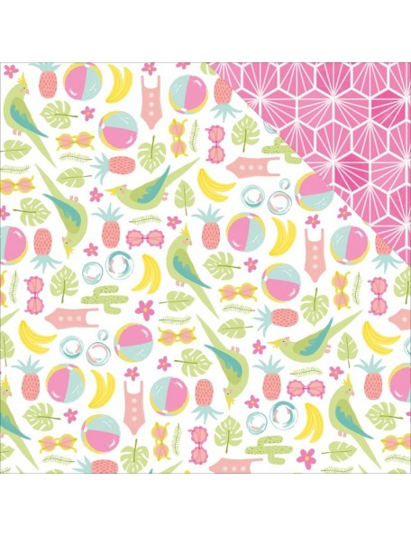"American Crafts - Dear Lizzy Happy Place Cardstock de doble cara 12""X12"", Kokomo"