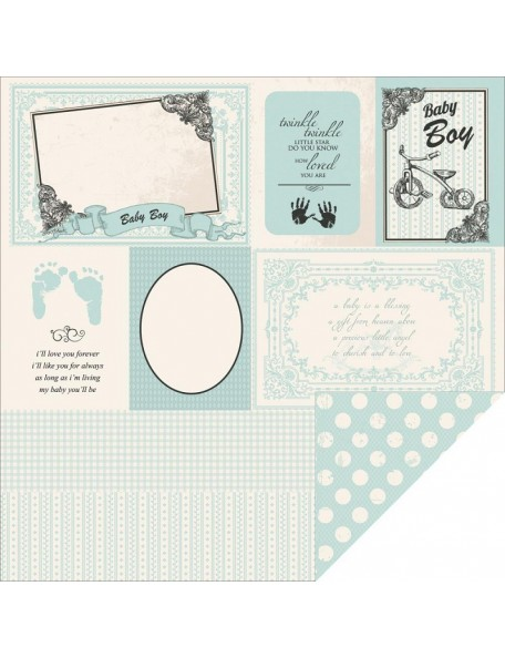 "Kaisercraft Pitter Patter Cardstock de doble cara 12""X12"", It's A Boy"