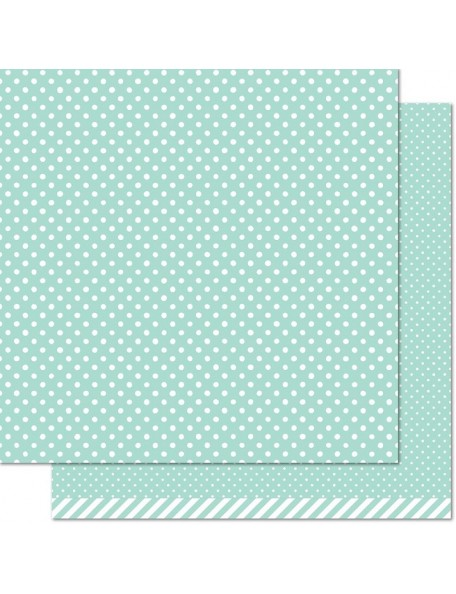 "Lawn Fawn - Let's Polka In The Meadow Cardstock de doble cara 12""X12"", Dew Drop"