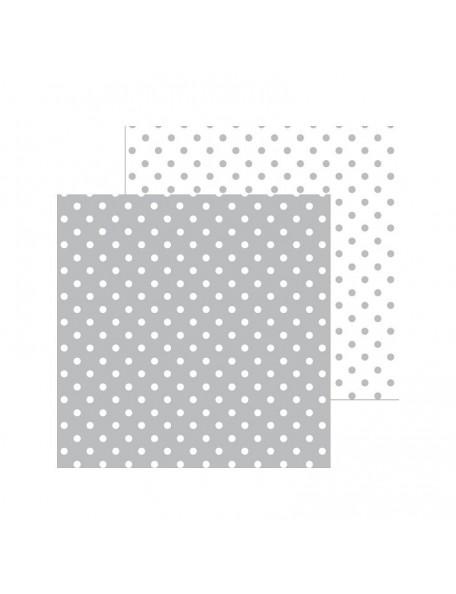 "Doodlebug Petite Swiss Dot Cardstock de doble cara 12""X12"", Stone Gray"