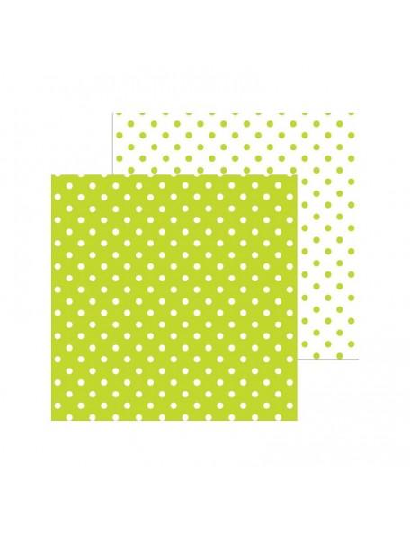 "Doodlebug Petite Swiss Dot Cardstock de doble cara 12""X12"", Key Lime"
