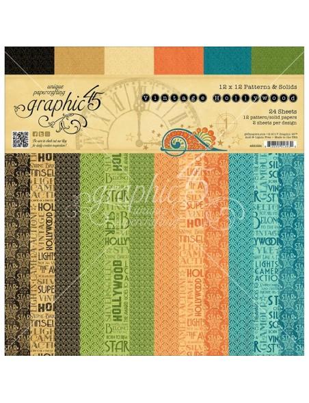"Graphic 45 Paper Pad de doble cara 12""X12"" 24 Hojas Vintage Hollywood Print/Solid"
