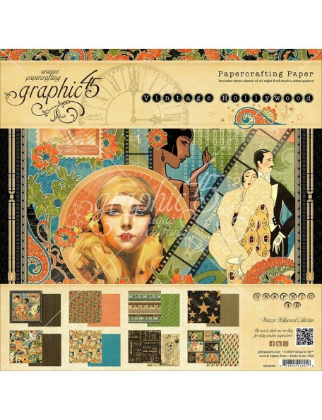 "Graphic 45 Paper Pad Cardstock de doble cara 8""X8"" 24, Vintage Hollywood, 8 Diseños/3"