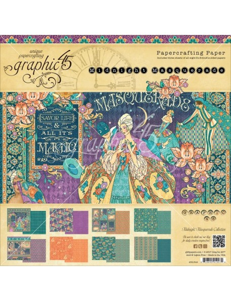 "Graphic 45 Double-Sided Paper Pad 8""X8"" 24/Pkg-Midnight Masquerade, 8 Designs/3 Each"