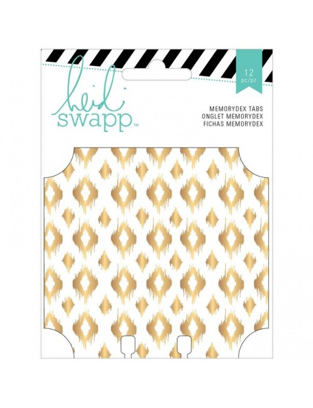 "Heidi Swapp Memorydex Foiled Tabs 12 Wanderlust W/Gold 3.25""X4"""