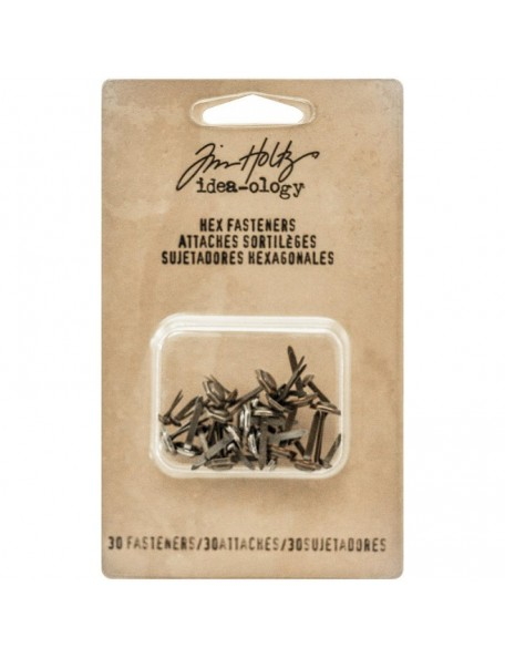 "Tim Holtz Idea-Ology Hex Paper Fasteners .25 To .5"" 30 Antique Nickel, Brass & Copper"