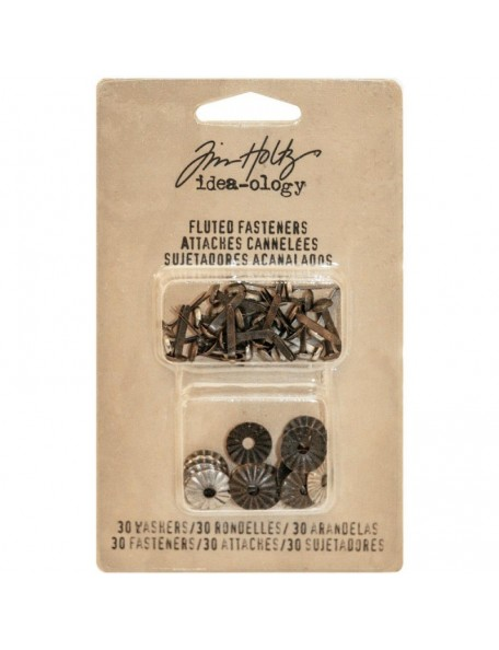 "Tim Holz - Idea-Ology Fluted Paper Fasteners W/Washers .5""30, Antique Nickel & Brass"