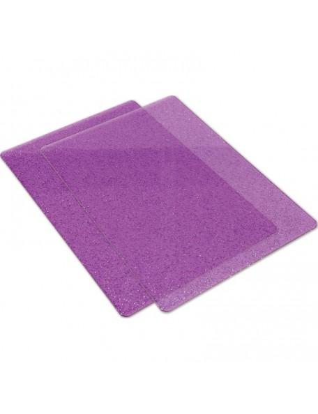 Sizzix Big Shot Cutting Pads 1 Pair-Purple W/Silver Glitter