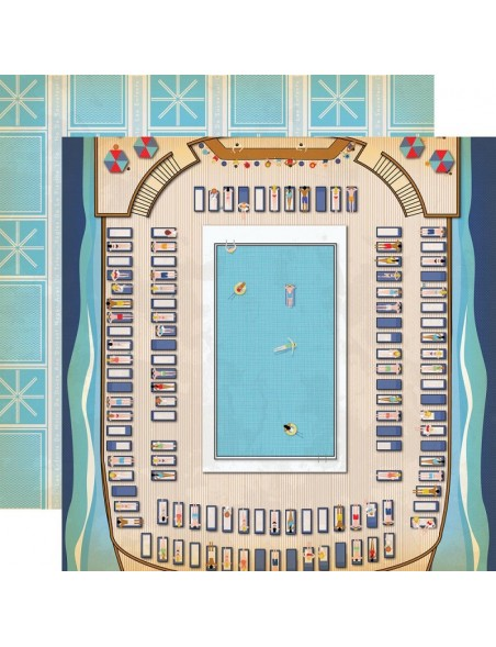 "Carta Bella Let's Cruise Cardstock de doble cara 12""X12"", Pool Time"