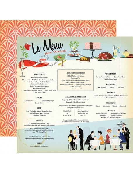 "Carta Bella - Let's Cruise Cardstock de doble cara 12""X12"", Le Menu"