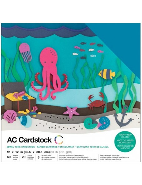 "American Crafts Variety Cardstock Pack 12""X12"" 60 Hojas, Jewel"